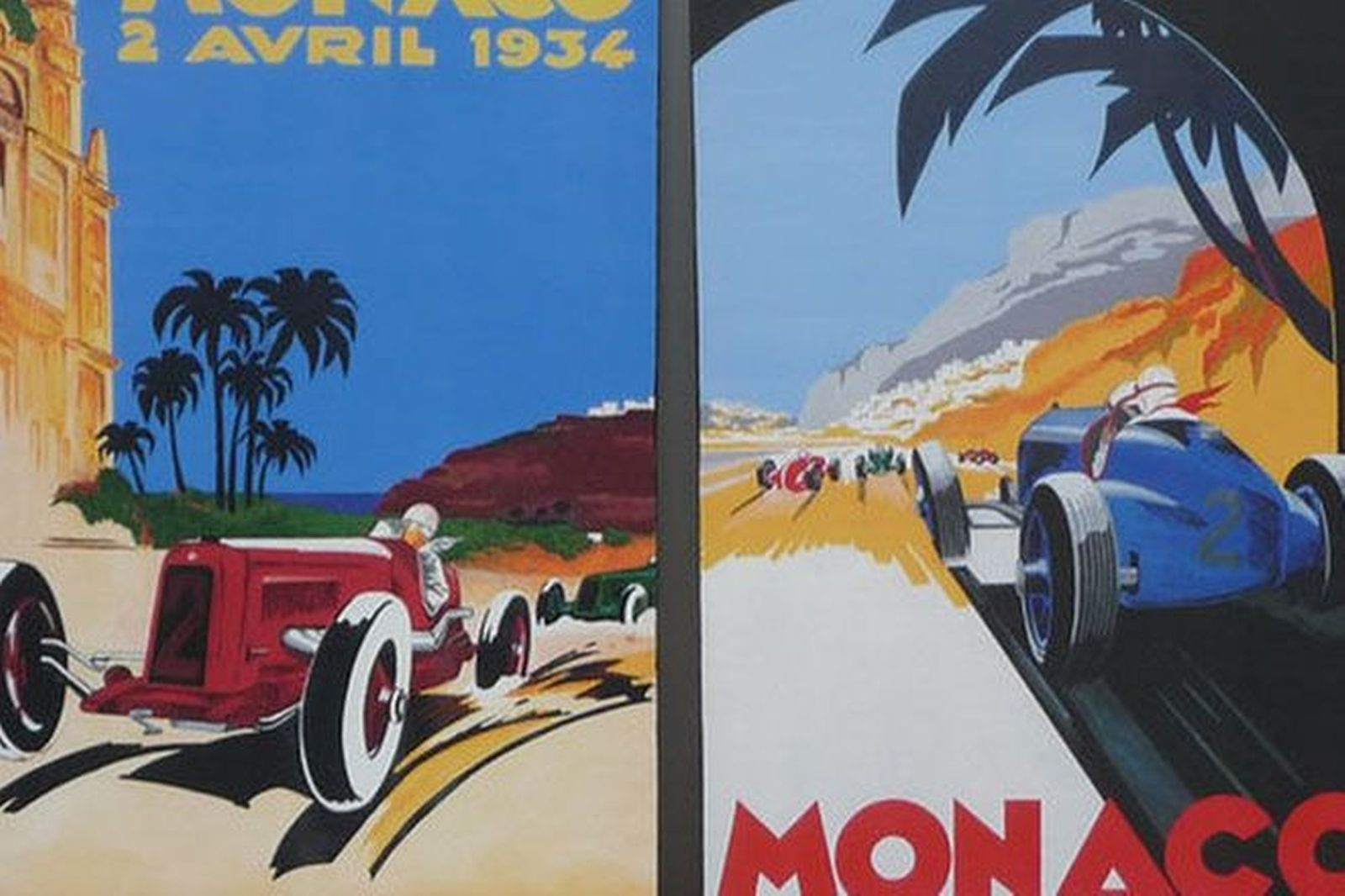 Prints x2 - Monaco Hand Painted Copies of Original Posters (approx. 61cm x 54cm)