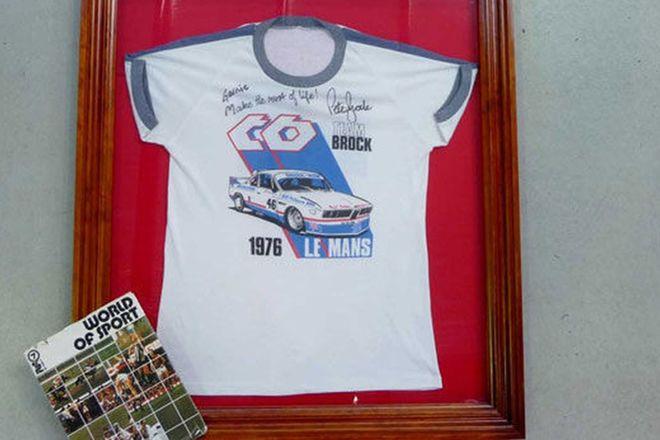 Framed Shirt - Signed 1976 T-Shirt of Peter Brock's LeMans BMW CSL and 1976 World of Sport Book