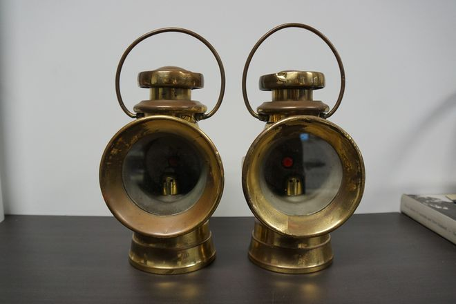 Pair (Left and Right) Lucas Brass Driving Lights - Matching Numbers '724'