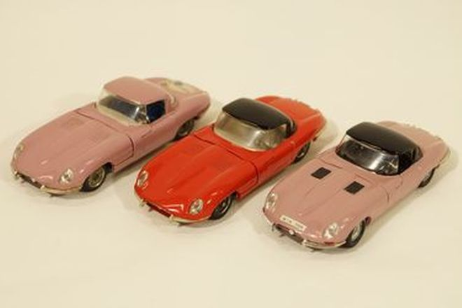 Model Cars x 3 - Politoys Jaguar E-Type N89 - Red, Heather, Heather (1:41 scale)