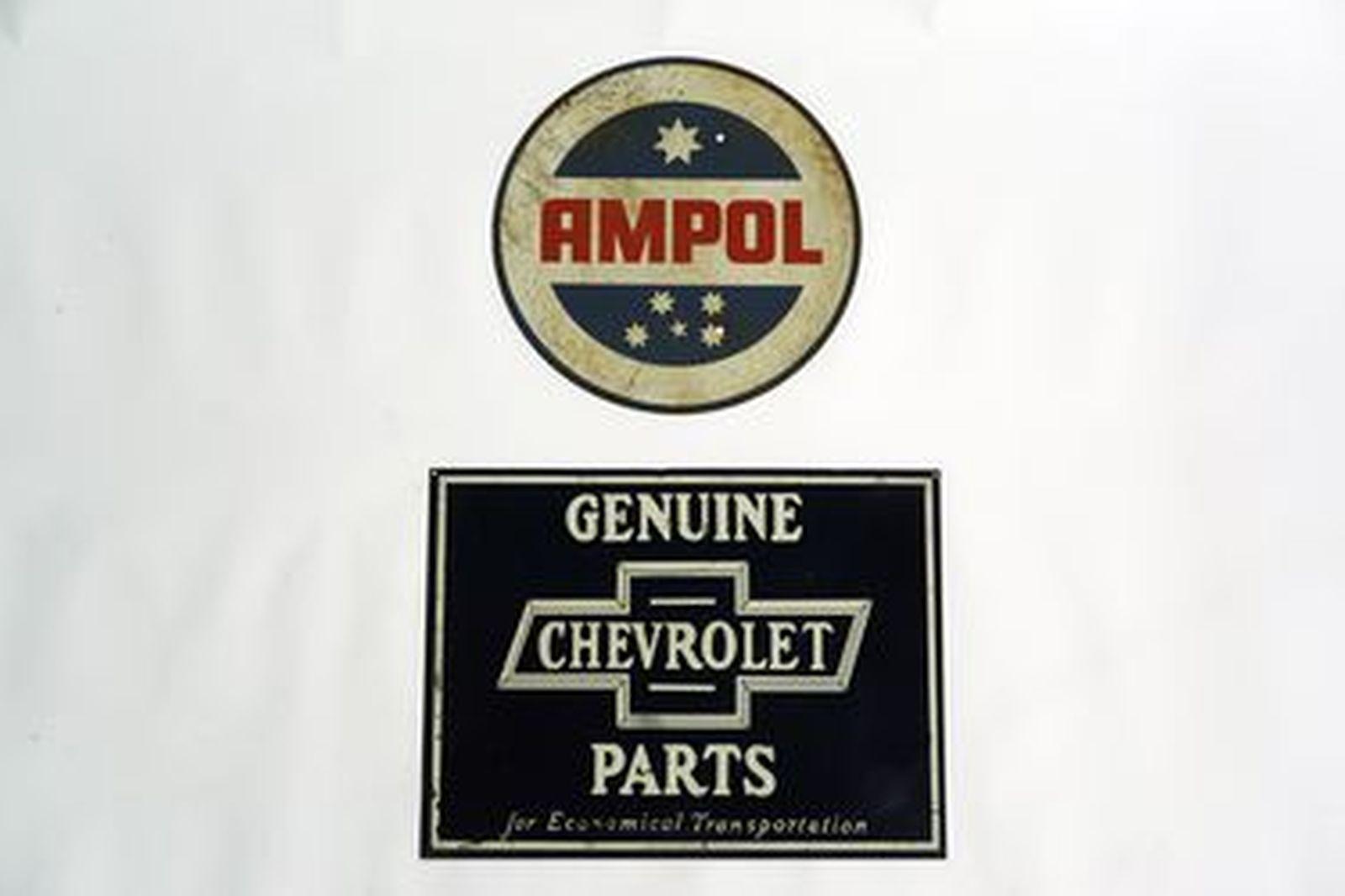 Tin Signs x 2 - Chevrolet 'Bowtie' Rectangular (45 x 60cm) & Ampol Round (44cm diameter)