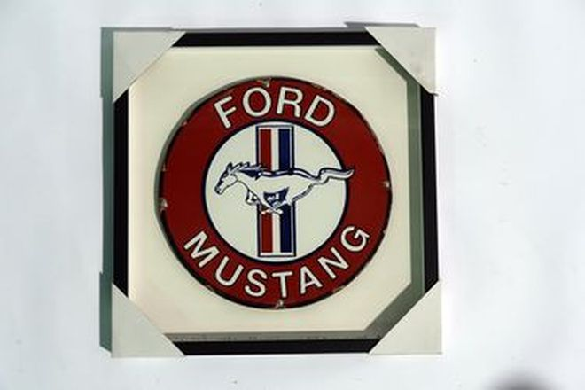 Framed Enamel Sign - Round Enamel Ford Mustang Dealer (35cm diameter in 50 x 50cm frame)