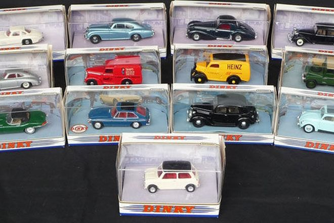Model Cars x13 - British & European Dinky Car Models (scale 1:43)