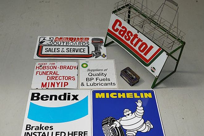Garage Collection - 5 x Signs , Castrol Oil Rack and Champion Tin