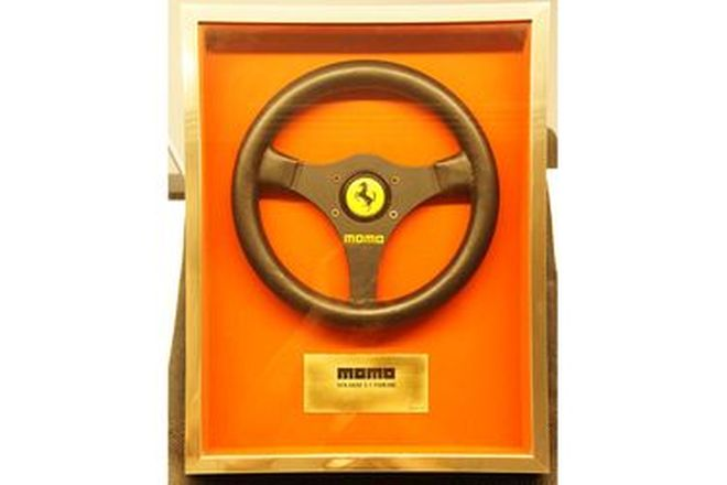 Steering Wheel - Framed Momo F1 Volante - From the 'Ian Cummins Collection'