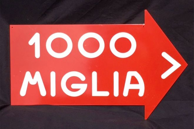 Baked Enamel - Mille Miglia Road direction Sign (reproduction)