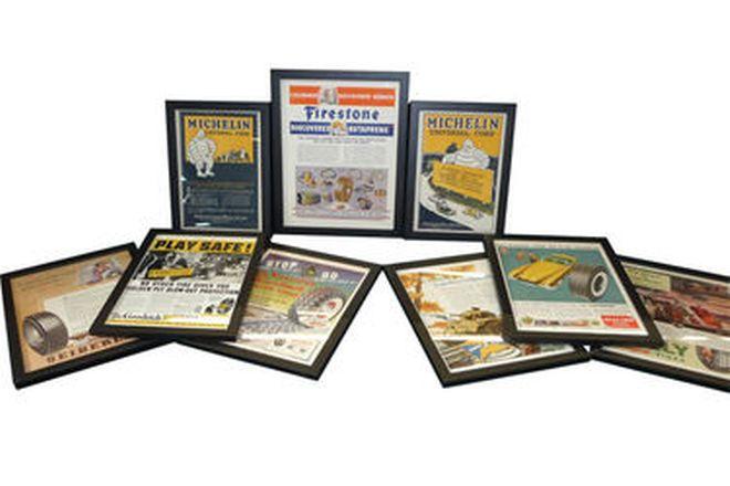 Framed Prints x 9 - Vintage Tyre Advertisements