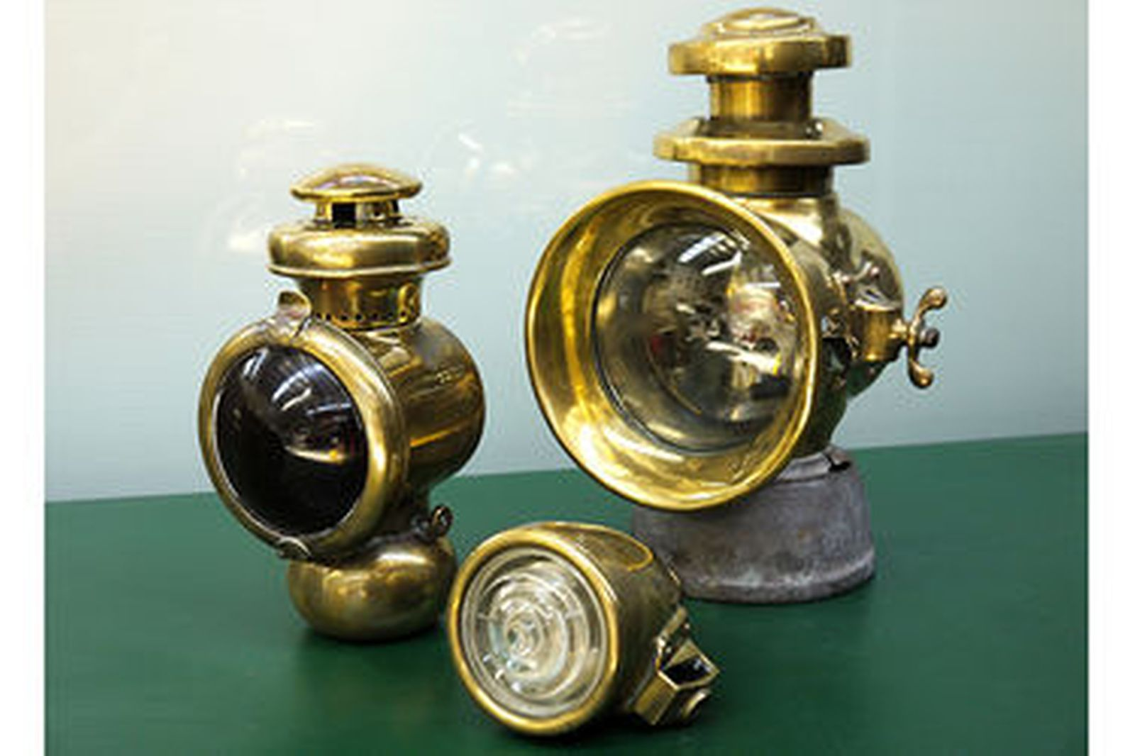 Lamps - 5 x Various Early Brass & Nickel Plated Lamps
