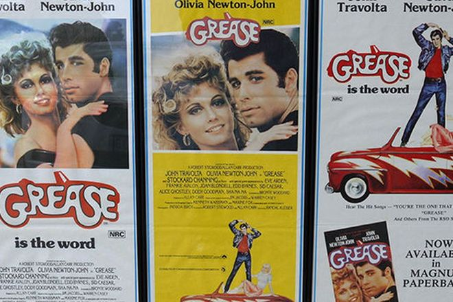 Framed Posters - 3 x Original Grease Movie (76cm x 33cm)