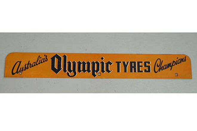 Enamel Sign - Australian Olympic Tyres 'Double Sided' (90cm x 12cm)