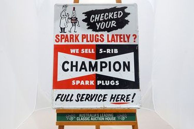 Tin Sign - Champion Check Your Spark Plugs - Single Sided (61 x 76cm)