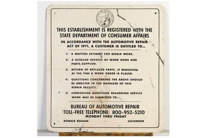 Californian Bureau of Auto Repairs Signs