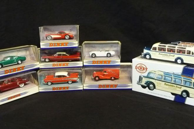 Model Cars x 8 Dinky European and American (scale cars 1:43 & bus 1:50)