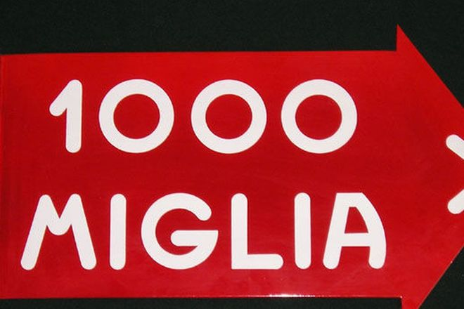 Enamel Sign - 1000 Miglia Post Mount (Double Sided)