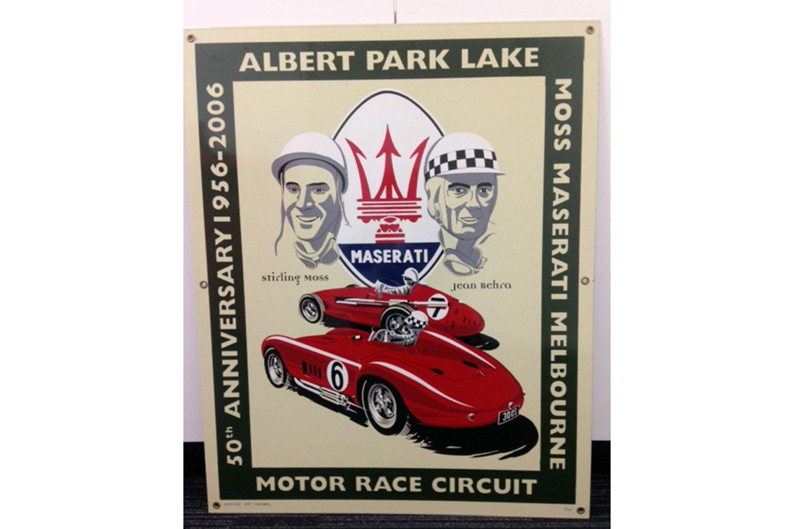 Enamel Albert Park Maserati Sign 65 by 85 cm