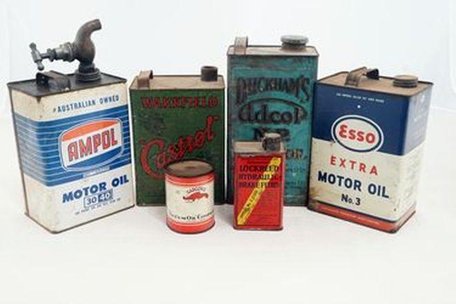 Petrol Tins - 6 x Tins: Esso,Wakefield, Duckhams, Ampol, Plume, Lockheed