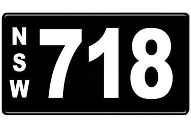 Number Plates - NSW Numerical Number Plates '718'