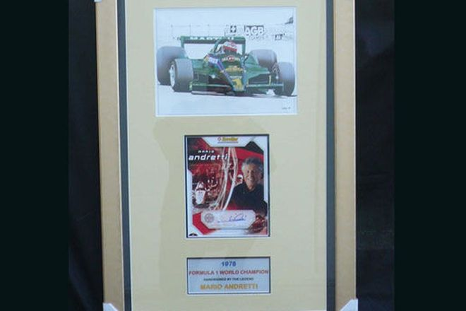 CHARITY LOT - Signed Framed Prints featuring Mario Andretti (1m  X 60cm)