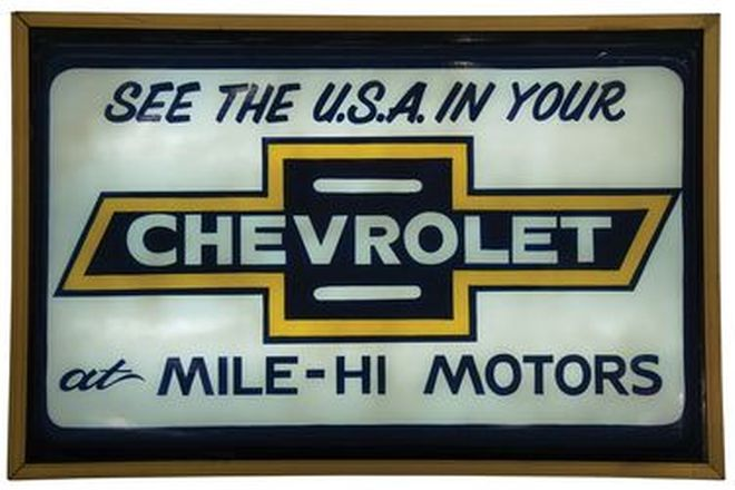 Light Box - Chevrolet Dealers Light Box converted to 240 volt - Original (93 x 62 x 5.5cm)