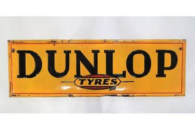 Enamel Sign - Dunlop Tyres 'Embossed' (180 x 58cm)