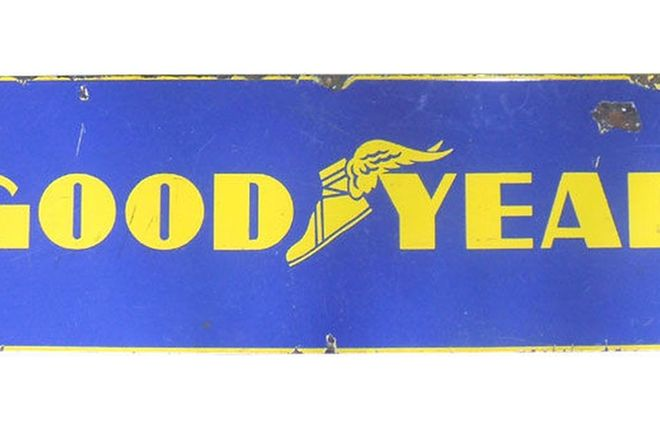 Enamel Sign - Goodyear (3' x 1')