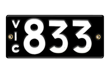 Victorian Number plates '833'