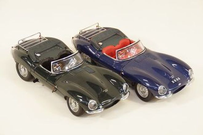 Model Cars x 2 - Autoart Jaguar XKSS BRG & Blue (1:18 scale)
