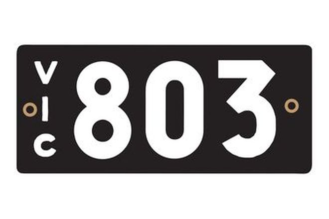 Victorian Heritage Numerical Number Plates '803'