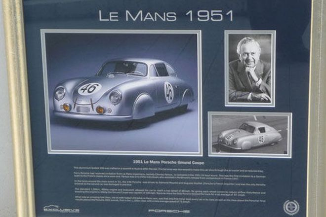 Framed Signed Print - 1951 Le Mans signed by Ferry Porsche