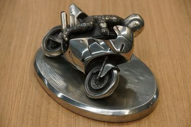 Pewter Model - Motor Bike & Rider (28cm long)