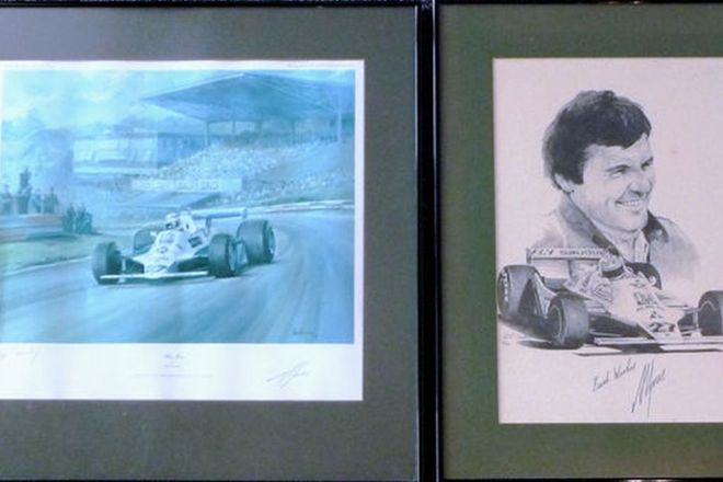 Framed Signed Prints -  Alan Jones (44 x 60 cms) & Alan Jones car on track (60 x 60cms)