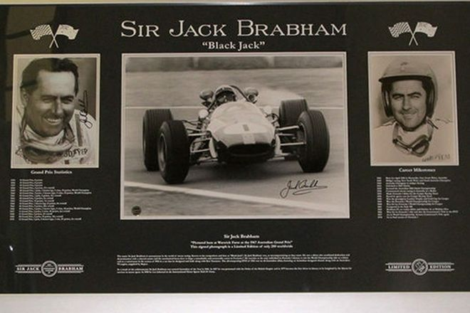 Framed Signed Prints - Limited Edition Sir Jack Brabham Collection (No. 179/250)