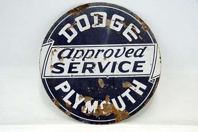 Enamel Sign - Dodge Approved Service Plymouth Double Sided (106 x 106cm)