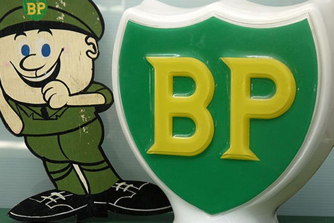 BP Memorabilia - BP Petrol Pump Light & BP Wooden Service Man (37cm Tall)