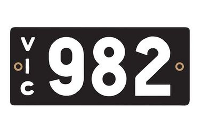 Victorian Heritage Numerical Number Plates ' 982'