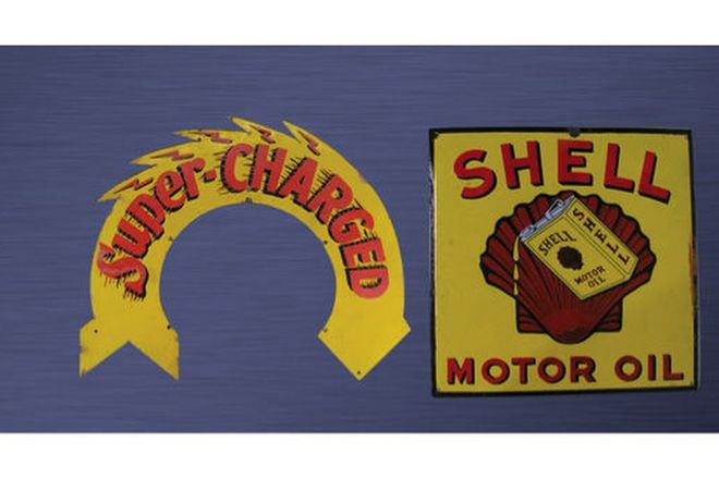 Enamel Signs - Shell Supercharged Double sided Wreath & Shell Motor Oil