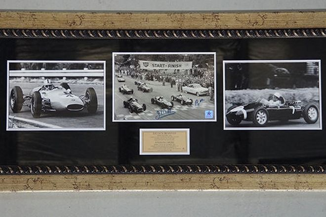 Framed Signed Photo -  Jack Brabham and Stirling Moss (116 x 54cm)