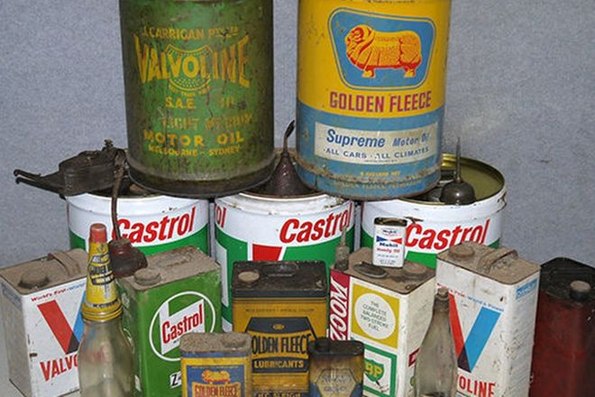 Assorted Garage Tins and Oil Bottles x 9