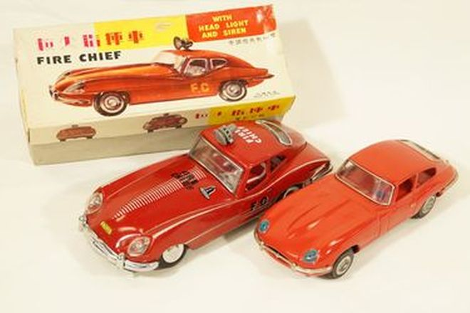 Model Cars x 2 - Tinplate Jaguar XK E-Type: Fire Chief car with box & Red XK-E by Clover Toy, Korea