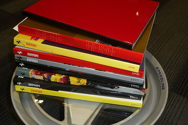 Coffee Table - Ferrari Wheel & 9 Ferrari Year Books 1989-2000