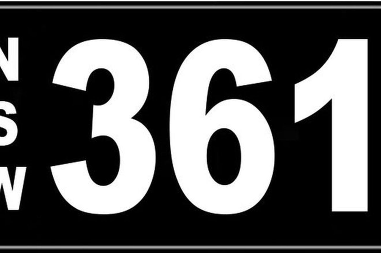 Number Plate - NSW Numerical Number Plate '361'
