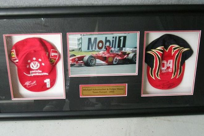 Framed Caps - 2006 Michael Schumacher and Felipe Massa Melbourne GP