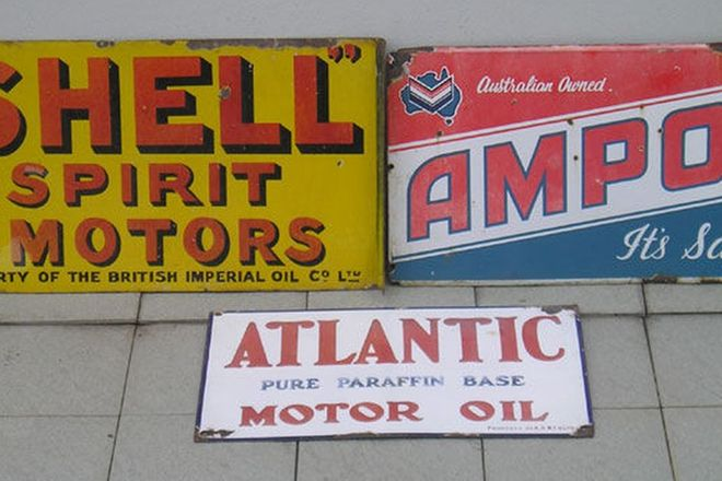 Enamel Signs x 3 - Shell, Ampol & Atlantic