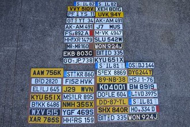 Number Plates - 50 x European Number Plates Mounted on 3 Boards