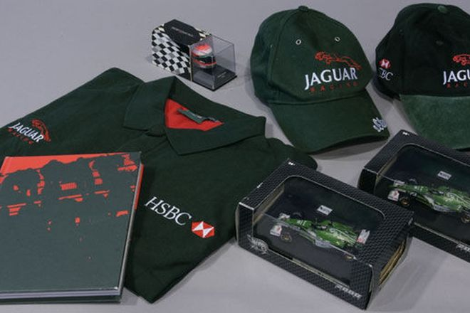 Jaguar Formula 1 Pack (2 x F1 Model Cars, Model Helmet signed, Inside Track Book, Polo Shirt, 2 x Ca