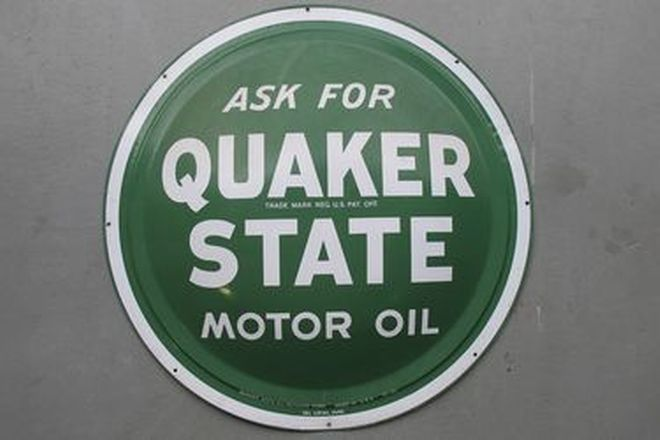 Tin Sign - c1960s Quaker State Motor Oil Convexed (61cm dia)