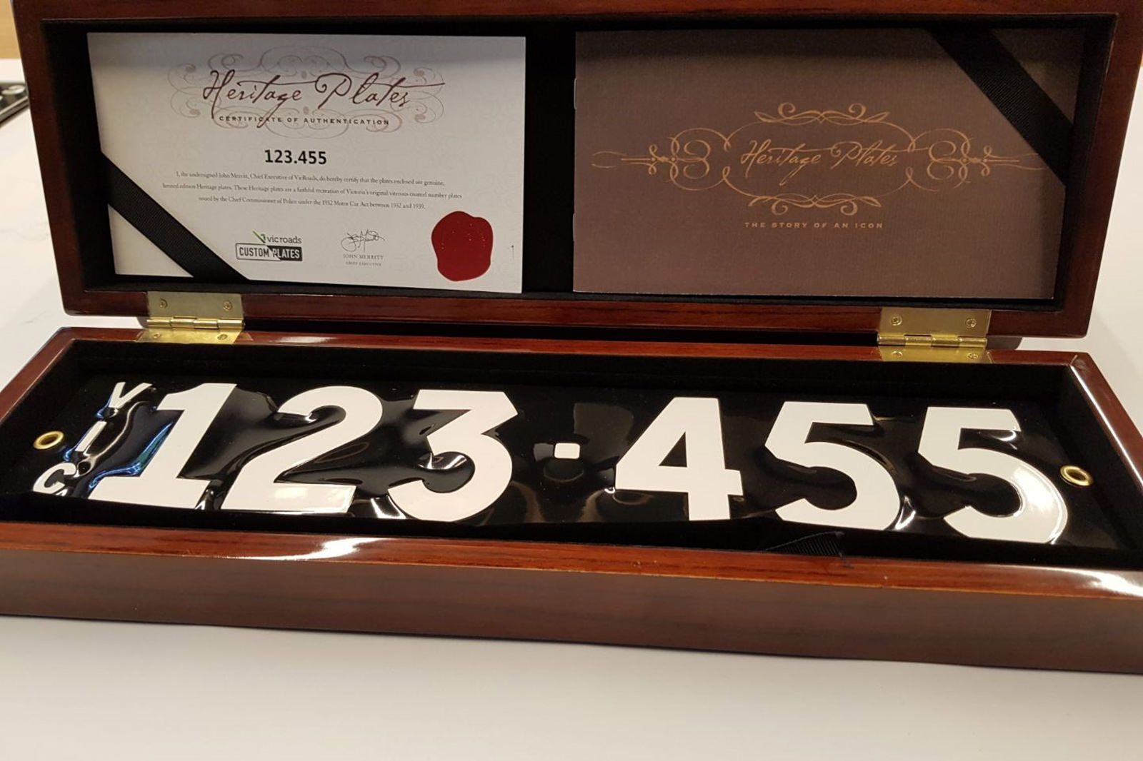 Victorian Heritage Number Plate 123.455