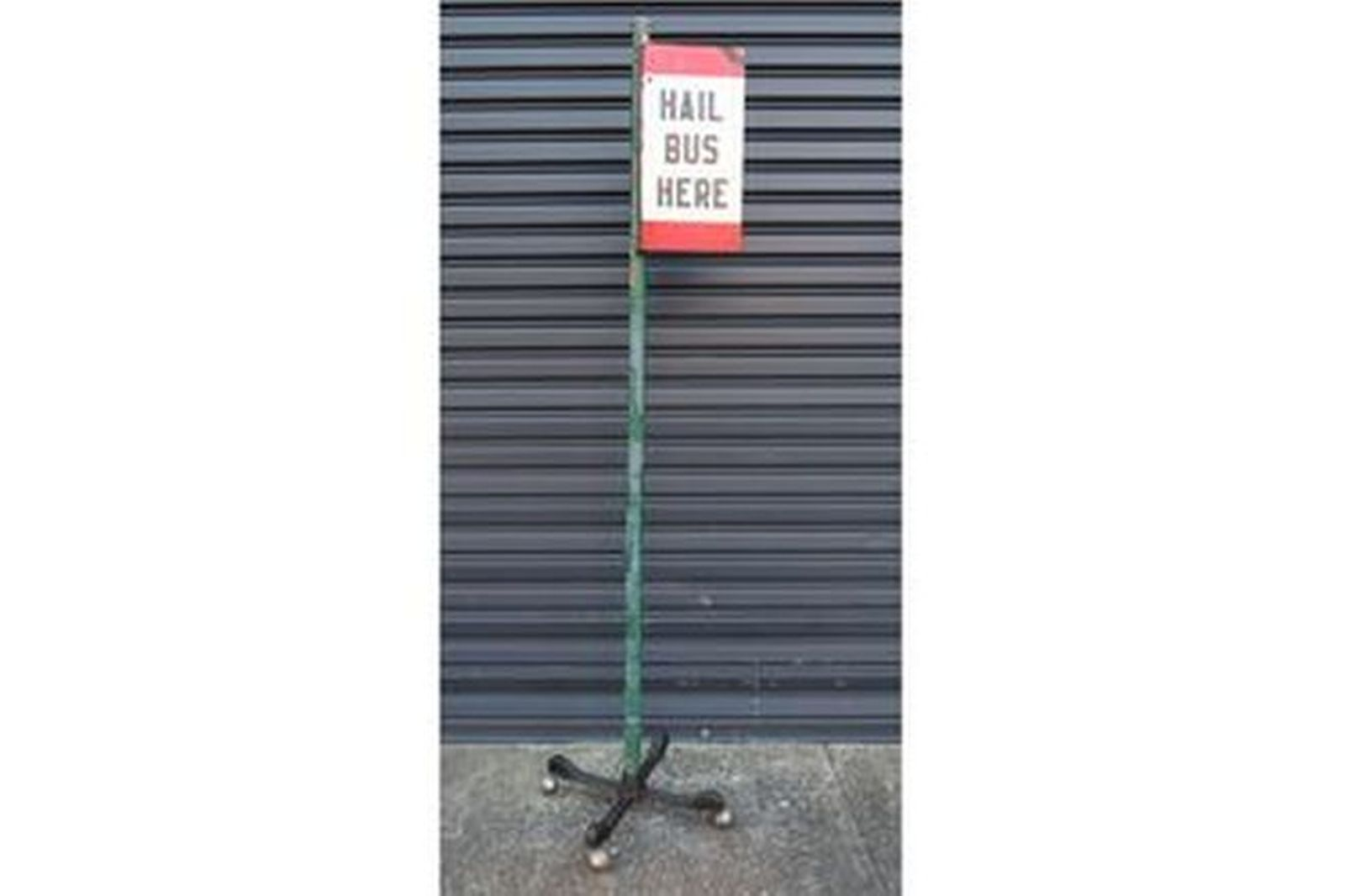 Enamel Sign - Hail Bus Here (28 x 53cm) on Stand (2.2m tall)