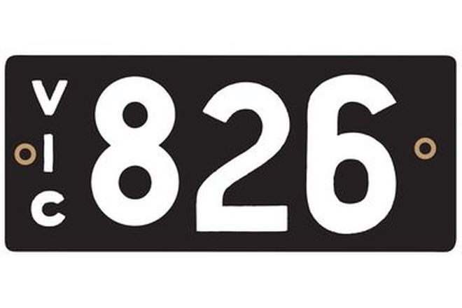 Number Plates - Victorian Numerical Number Plates '826'