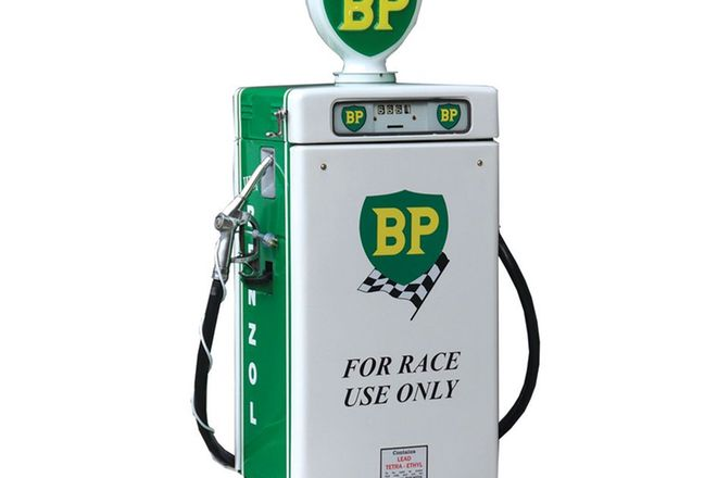 Petrol Pump - c1960s Wayne 605 'Industrial' Short in BP Racing Livery with Reproduction Globe